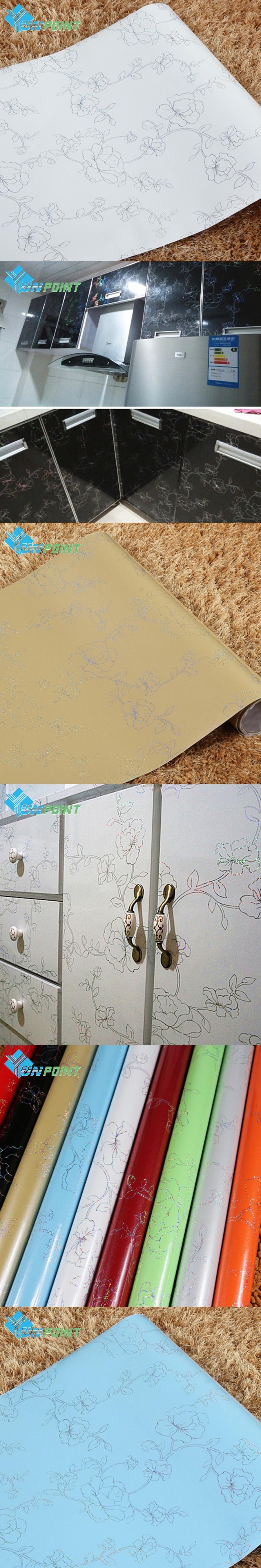 60cmX5m Thick Laser Flowers Desktop Stickers White DIY Home Decor ...
