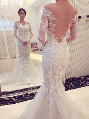 070c2ce29360f Famous Trumpet/Mermaid Off-the-shoulder Tulle Court Train Appliques Lace  Long Sleeve Wedding Dresses #DGD00022666