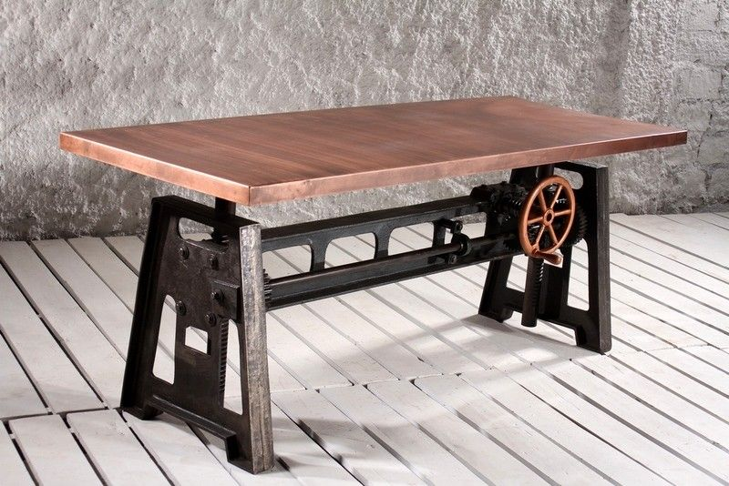 Retro Industrial Knoll Crank Mechanism Communal Dining U0026 Bar Table: Metal  Top In Copper Finish   Crank Furniture Co.