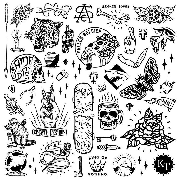 Here is a collection of the elements I used for the @ascolour mural at Mermaid Beach. Such a fun project. #kieltillmanart #ktcreative… #tattoodrawings