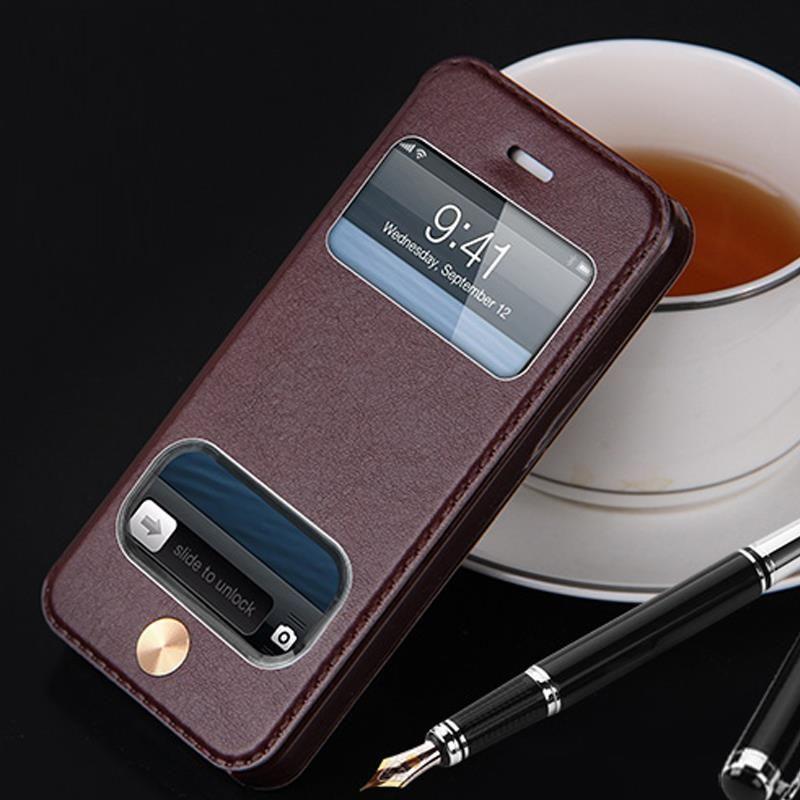 플립 가죽 케이스 애플 아이폰 6 초 6 초 럭셔리 브랜드 원래 pu 스탠드 창보기 휴대 전화 케이스 아이폰 6 초 6 s