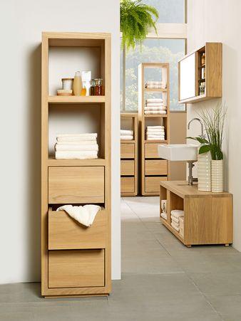 Badezimmerschrank Simply Oak Niedrig Mit 3 Laden Und Einem Fach 42x42x122 Cm Eiche Haus Deko Badezimmer Haus Interieurs