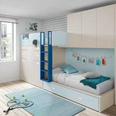 Cama tren azul kids bedroom pinterest dormitorios - Literas tren medidas ...