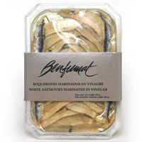 Boquerones (White Anchovies From Benfumat) - fresh from the Cantabrian Sea, this white anchovies are lightly cured in a brine of sea salt, white wine vinegar and garlic. Known for it's delicate flavor, it is best served on a crusty bread and olives.