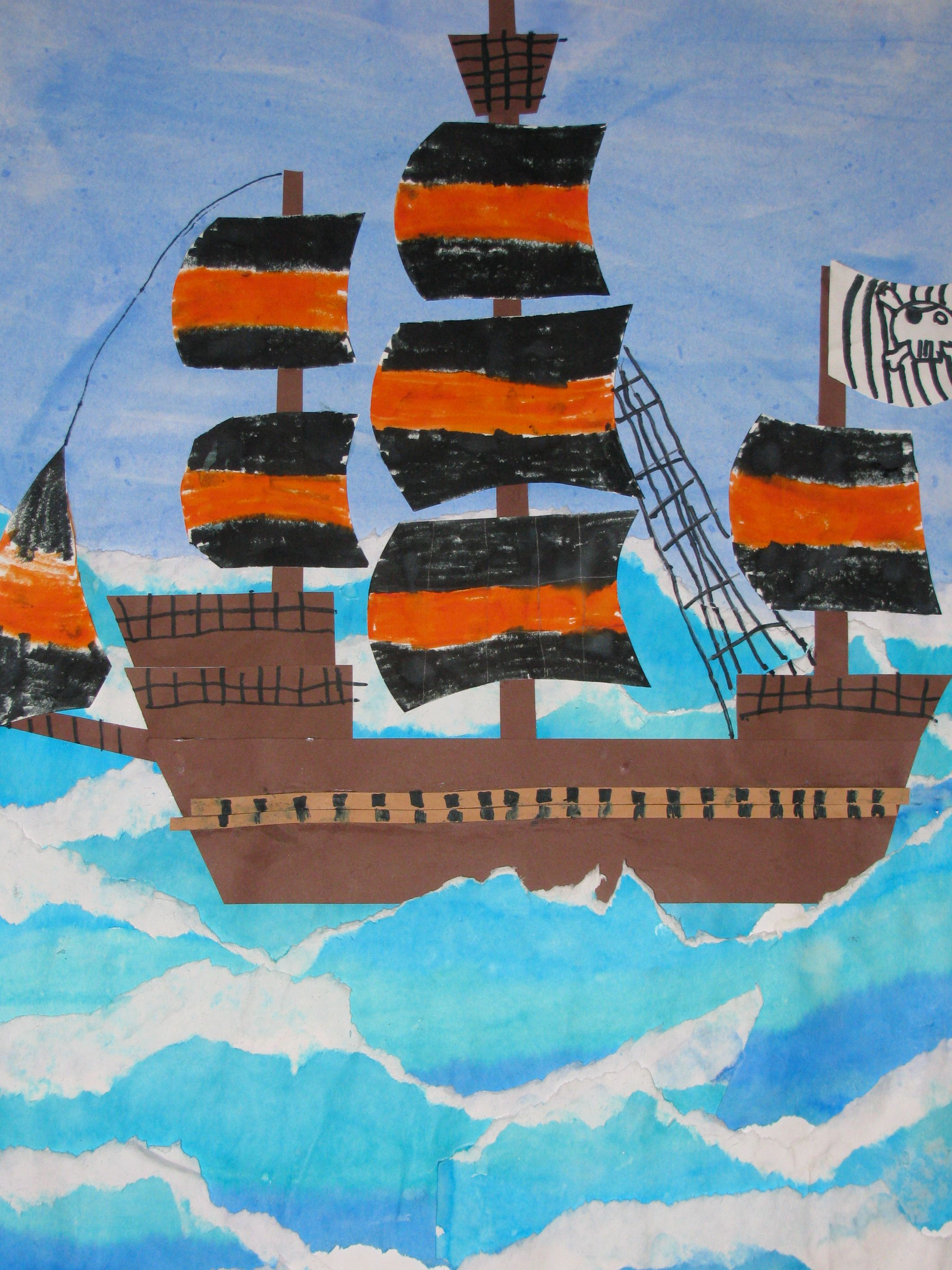 4th Grade Watercolor Pirate Ship Collage Painting 22 X28