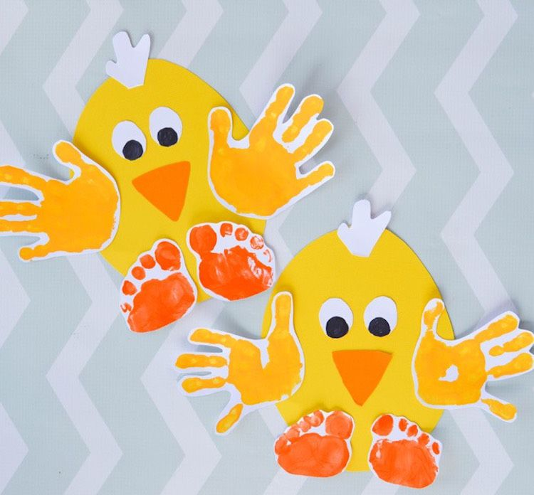 Küken mit Hand- und Fußabdrücken (Ostern)