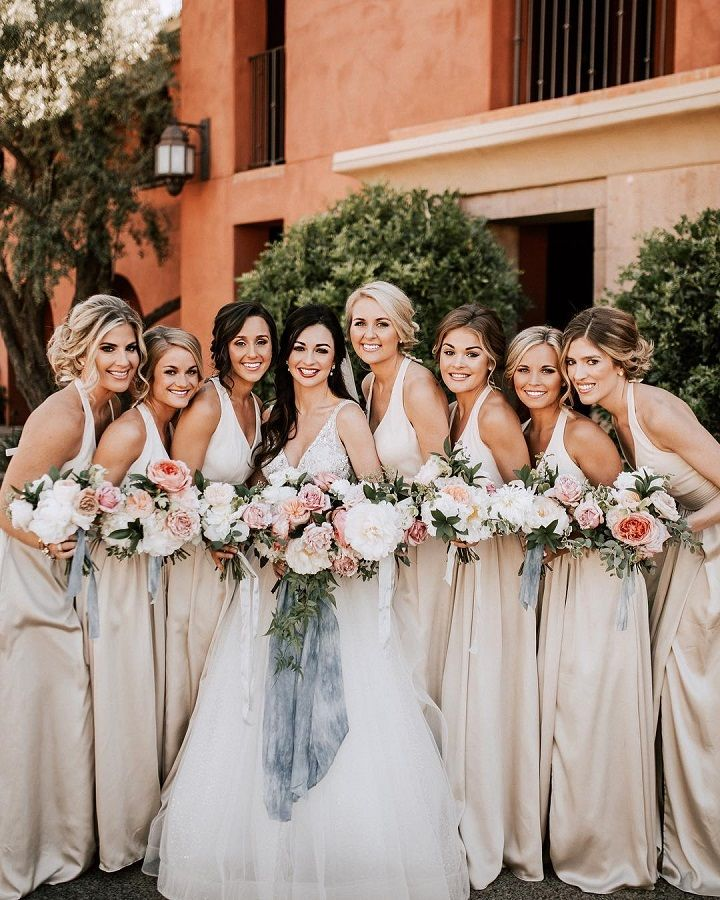 Long beige bridesmaid dresses with pretty bouquets #weddingbouquet #bridesmaiddresses #beigebridesmaids #champagne