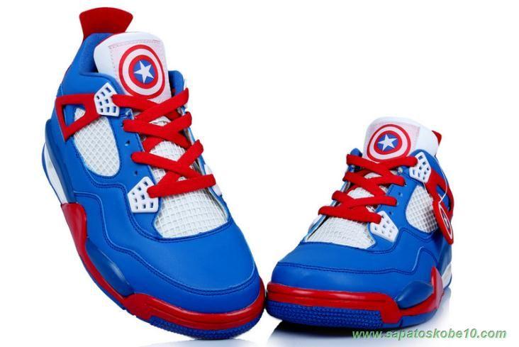 c6d86bf32c0af tenis barato de marca Captain America AIR JORDAN 4 RETRO Azul Vermelho