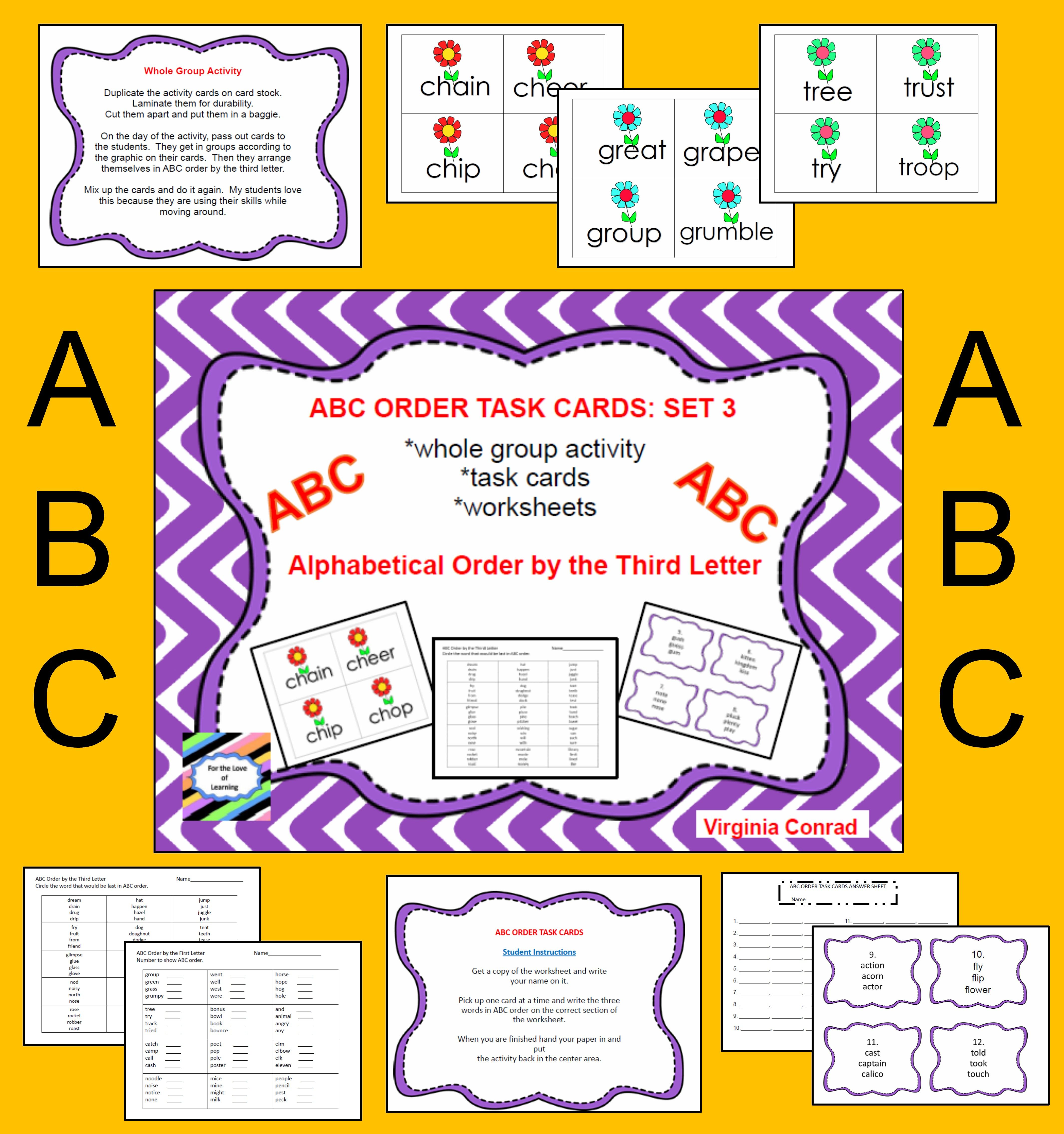 Lots Of Things To Help Your Students Practice Putting Words In Alphabetical Order By The Third Letter First Year Teachers Teaching Grade Abc Order Task Cards [ 4541 x 4262 Pixel ]