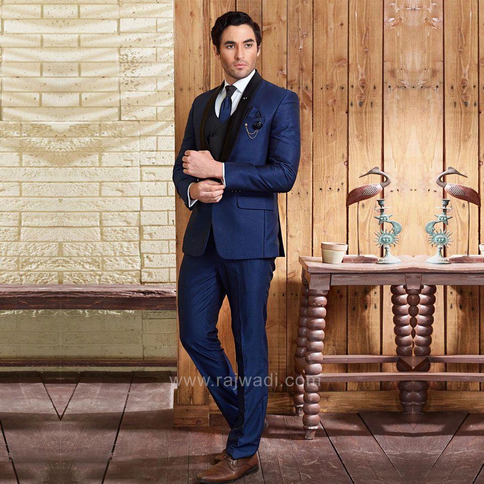 Stylish navy blue color suit with matching bottom rajwadi