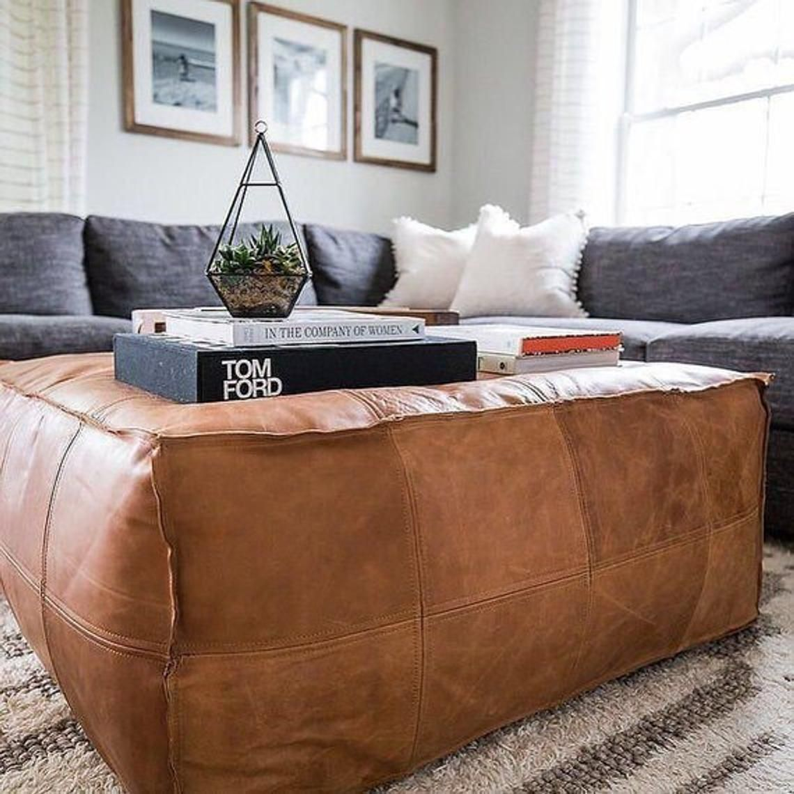 Superb Ottoman Square Poufs Moroccan Leather Light Tan Handmade Squirreltailoven Fun Painted Chair Ideas Images Squirreltailovenorg