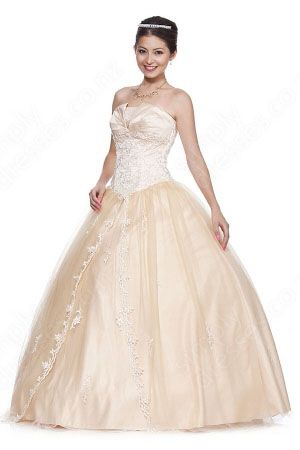 BallGown Strapless Tulle Satin Floor-length Pearl Pink Embroidery Quinceanera Dress at simplydresses.co.nz