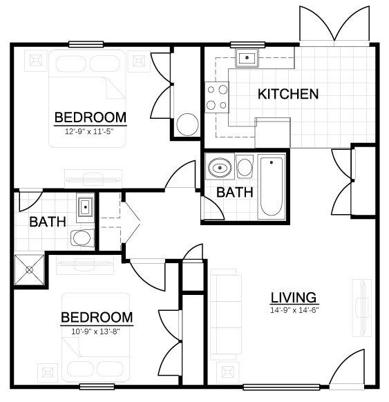 Our 2 Bedroom 2 Bathroom Floor Plan Is A Comfortable 960 Square Foot Apartment Home Floor Plans Bathroom Floor Plans Mountain View Apartment