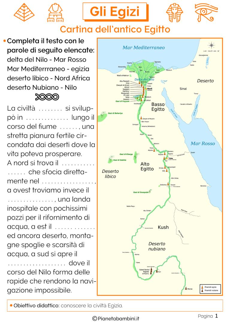 Cartina Egitto In Italiano.Gli Egizi Schede Didattiche Per La Scuola Primaria Storia