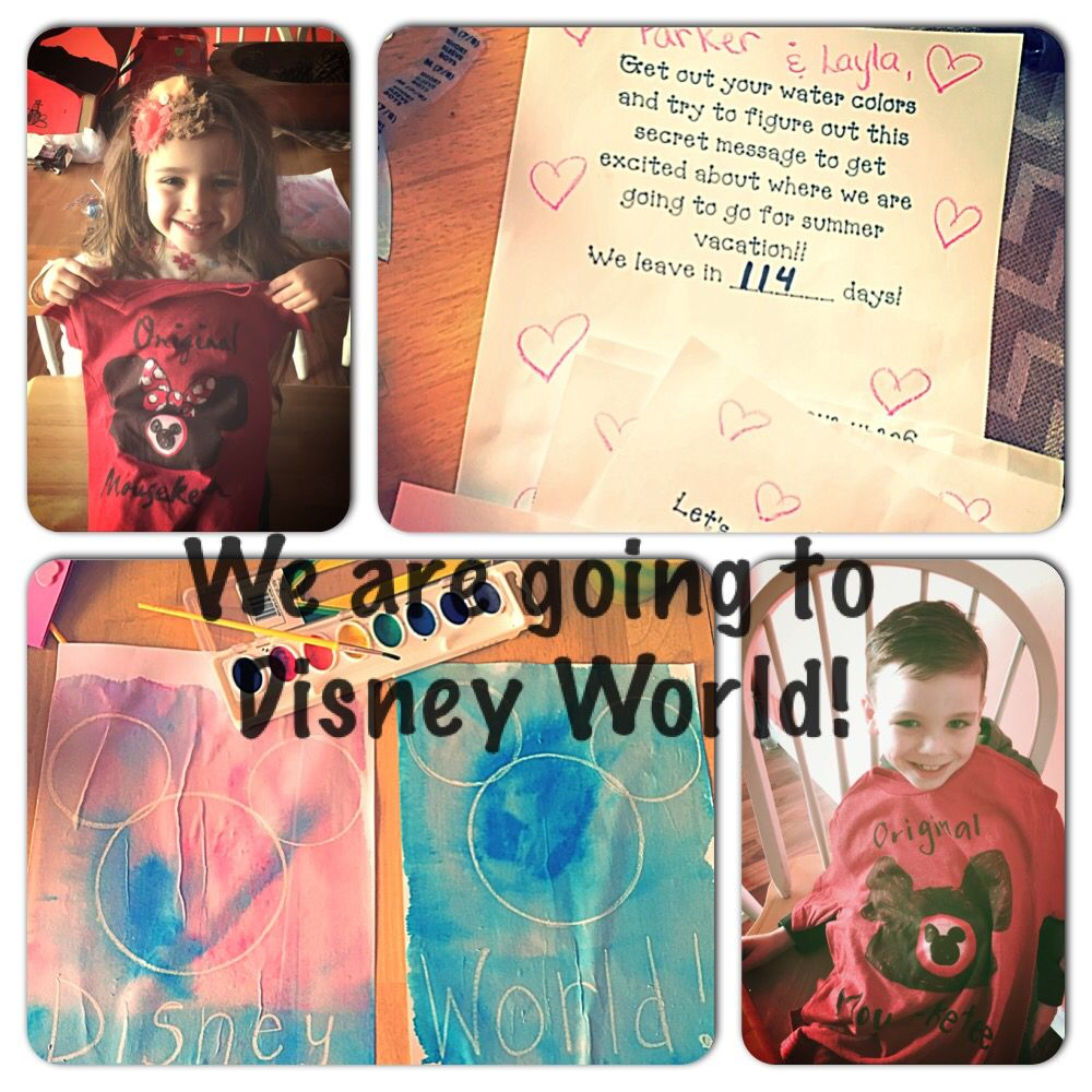 Disney World scavenger hunt! Our kids went on a special hunt as their valentine gift. Their final clue was a blank white sheet of paper they had to use water colors to paint the picture to reveal the message I wrote and drew with a white crayon.