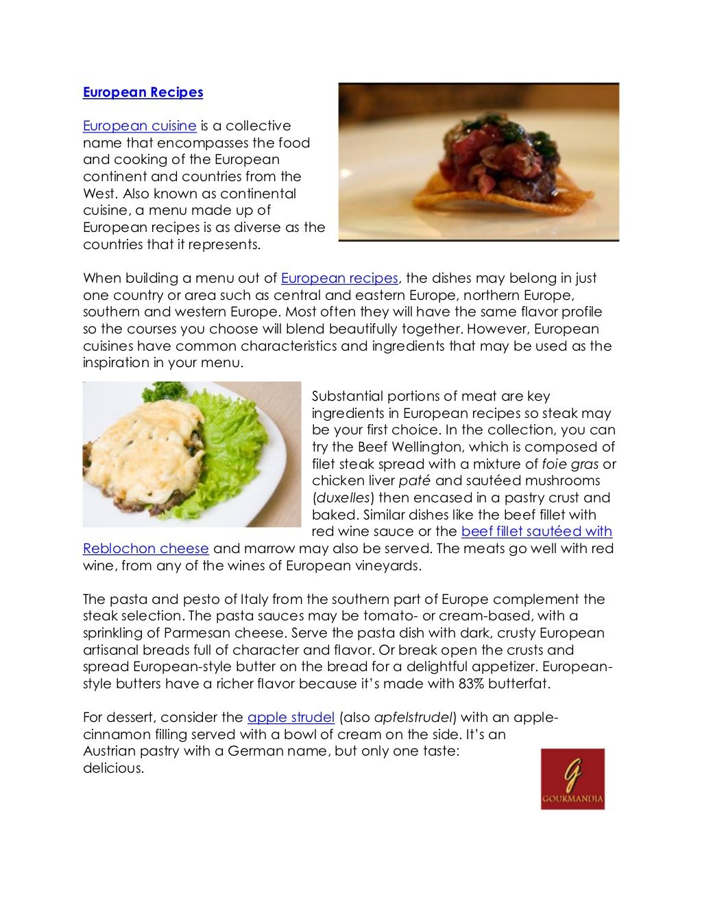 European Recipes By Catalina Linkava Via Slideshare European