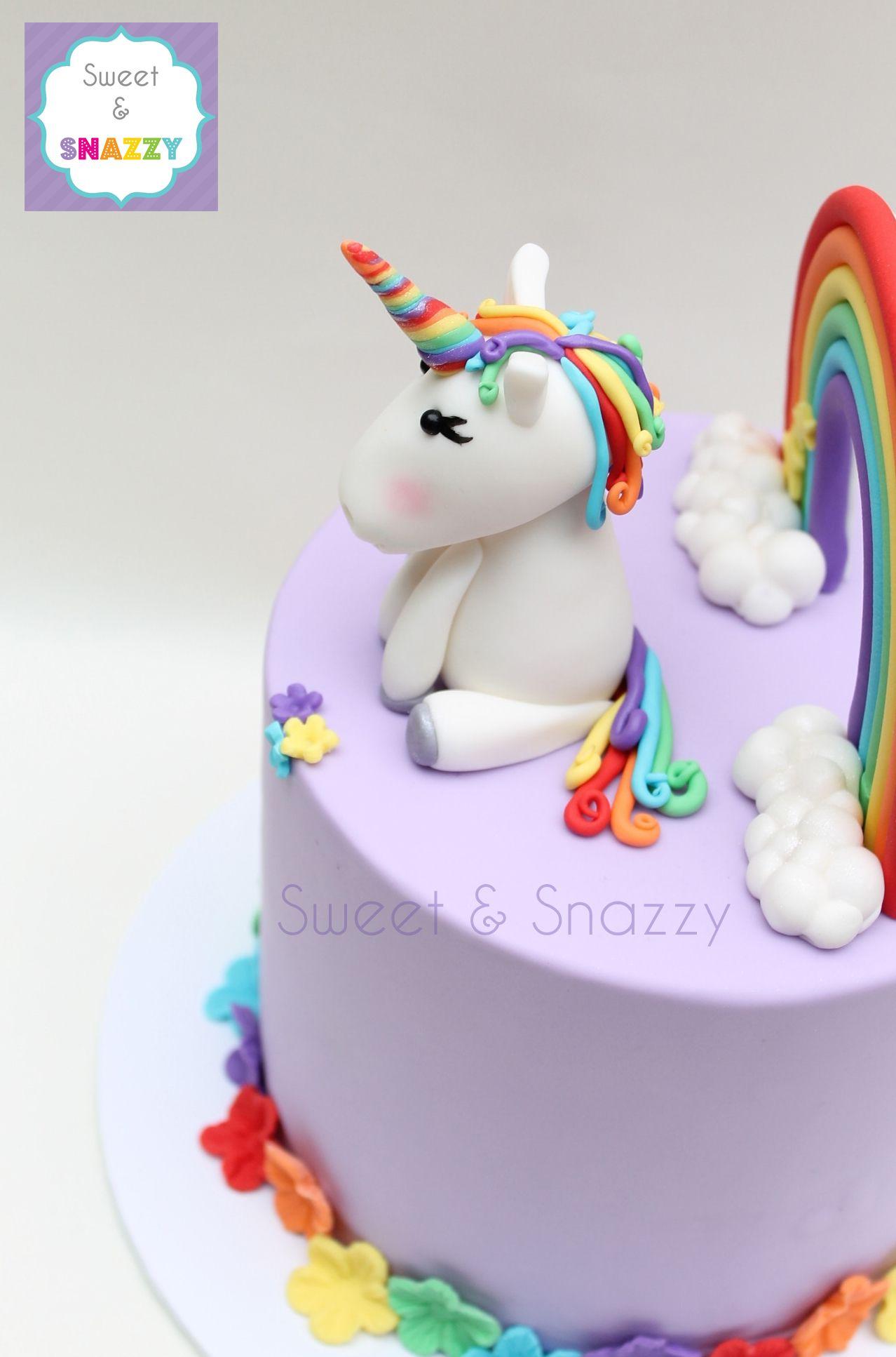 Rainbow Unicorn Cake topper fondant rainbow and unicorn cake