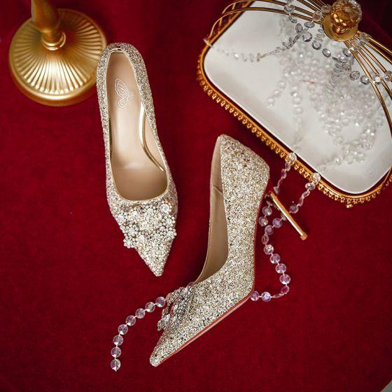 Charming Gold Glitter Wedding Shoes 2020 Rhinestone Sequins 8 Cm Stiletto Heels Pointed Toe Wedding Pu In 2020 Glitter Wedding Shoes Gold Glitter Wedding Wedding Shoes