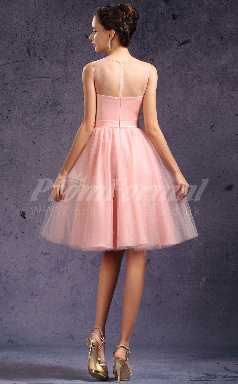 Pearl pink charmeusetulle princess strapsvneck kneelength