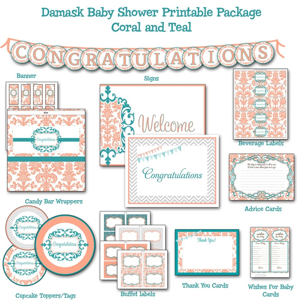 Wonderful Damask Coral And Teal Baby Shower Printable Package, Dessert Bar Decorations