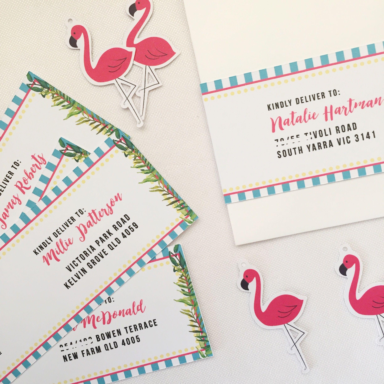 Tropical Pool Party Birthday Invitation wrap around address labels ...