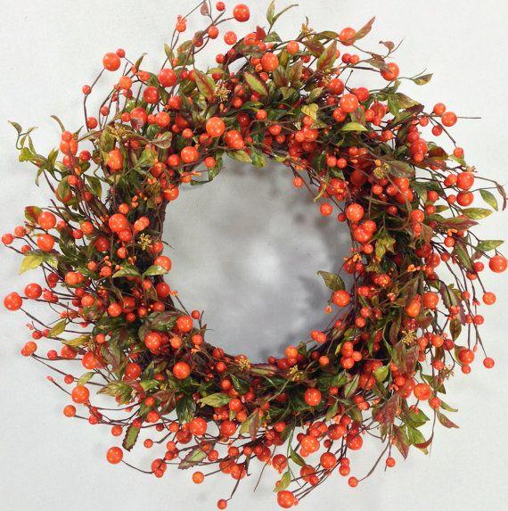 Fall Wreath, Autumn Wreath, Harvest Wreath, Wispy Wreath, Fall Floral, Fall Door Decor, Orange Berry Wreath, Autumn Decor