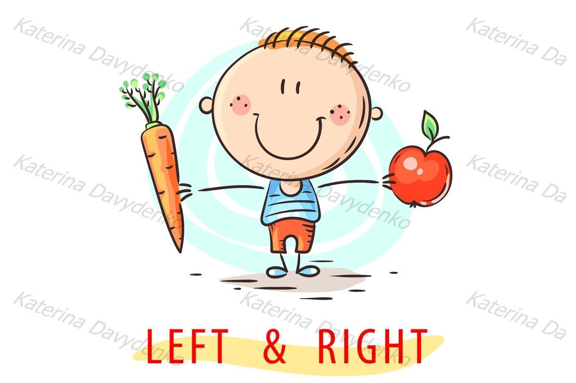 Kid Learning Left And Right Holding Different Objects By