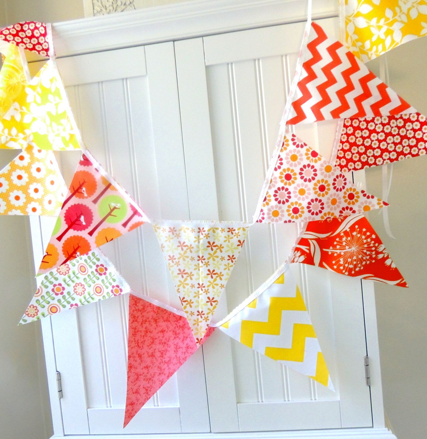 Garland banner bunting pennant fabric flags pink orange coral