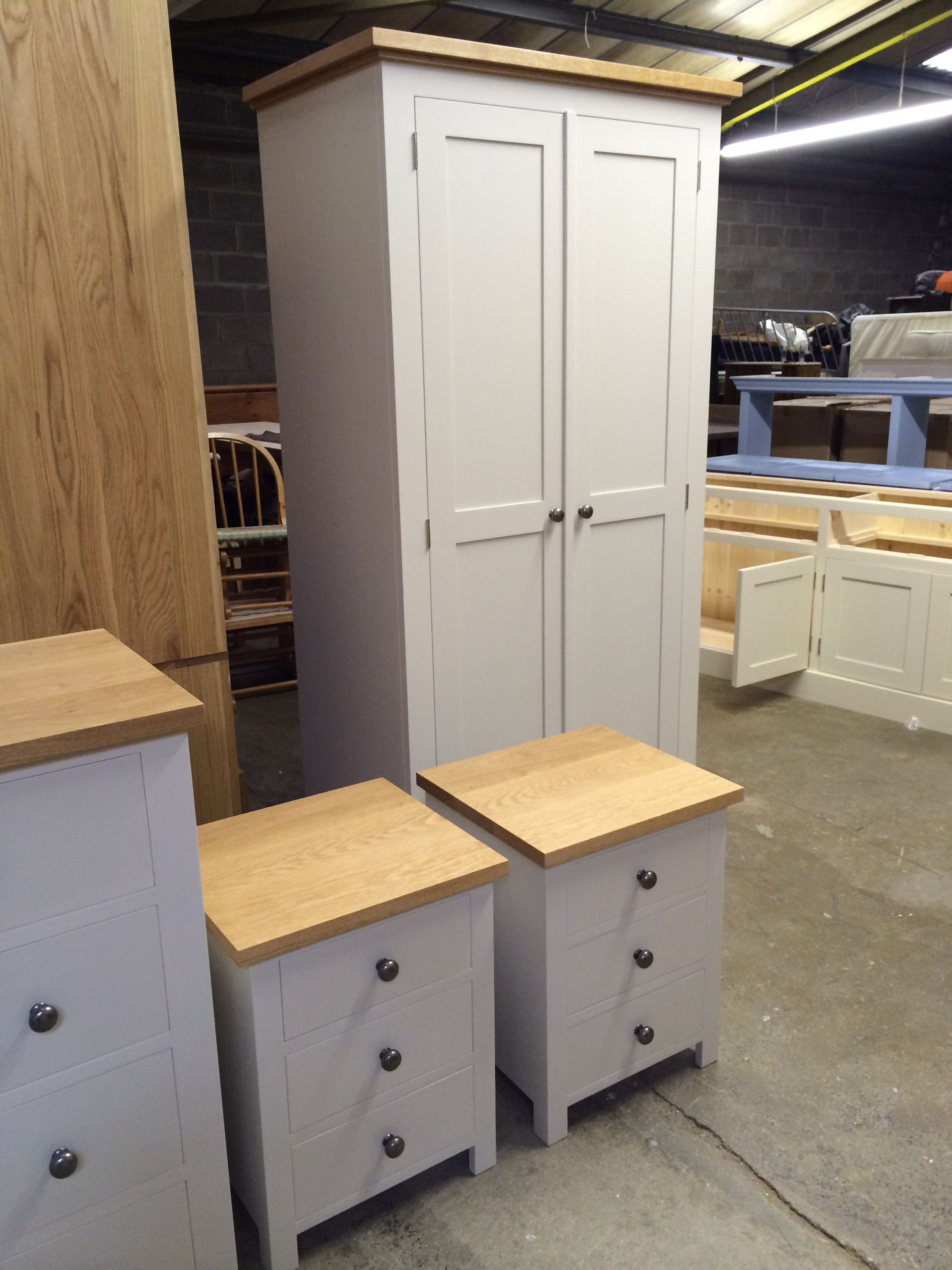 Painted with oak tops and pewter knobs bedroom furniture