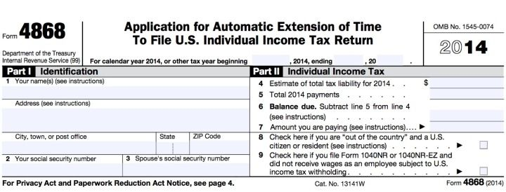 Good Fill Out The Short And Easy IRS Form 4868 To Get An Automatic Tax Extension.