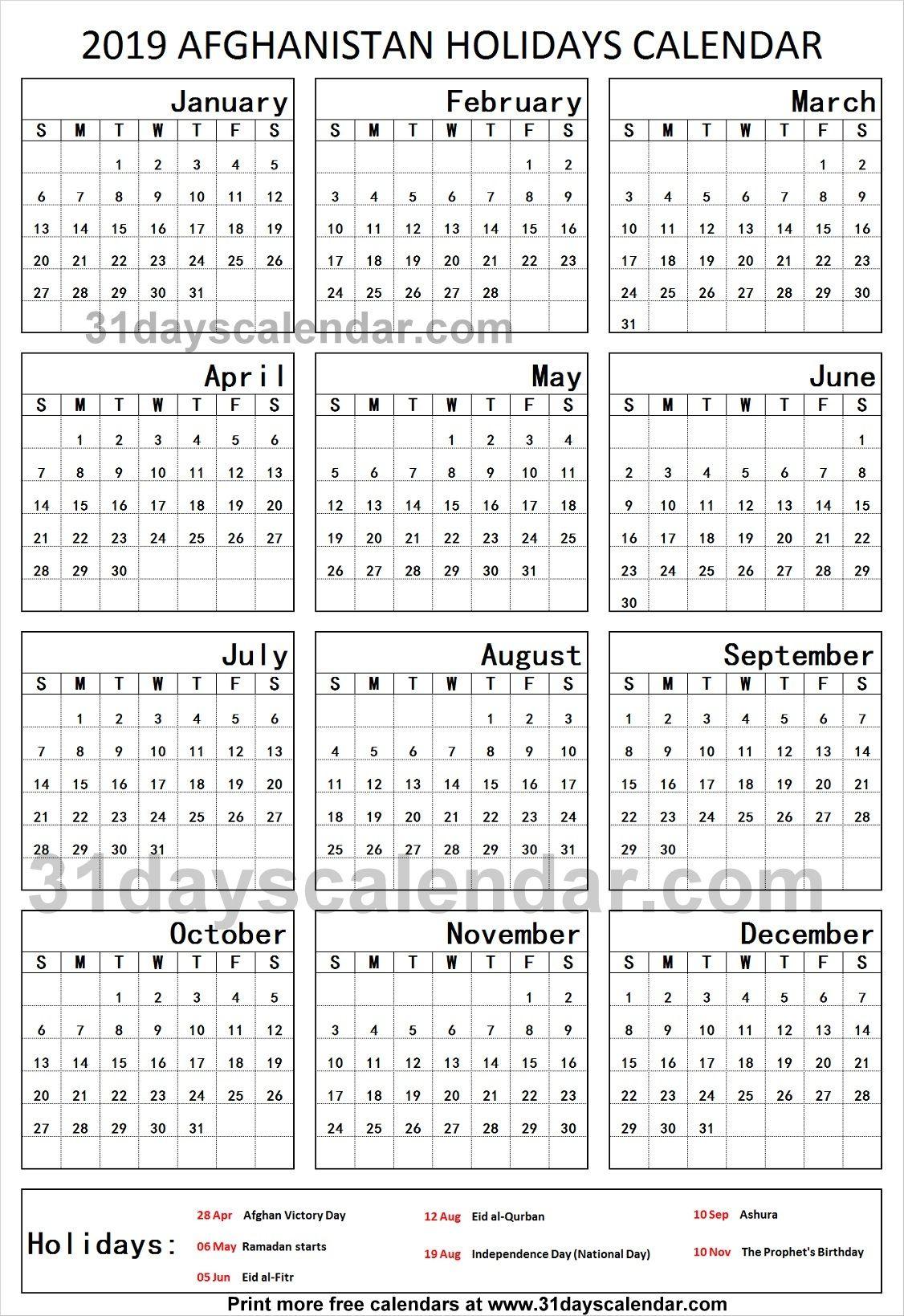 Afghanistan National Holidays 2019 Calendar School Holidays Uk