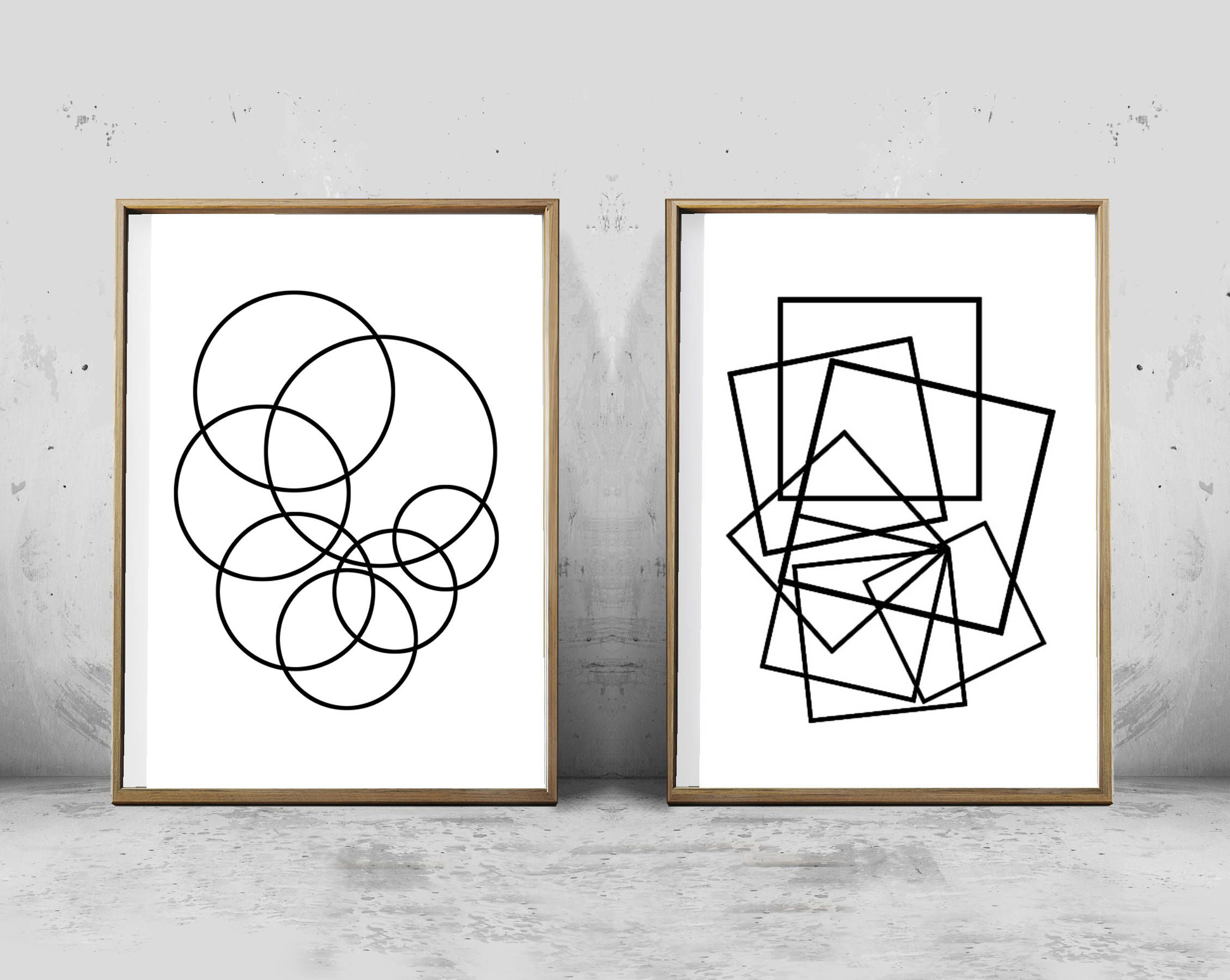Contemporary black and white abstract geometric prints set includes two minimalist posters hello we are white orchid prints designers of contemporary