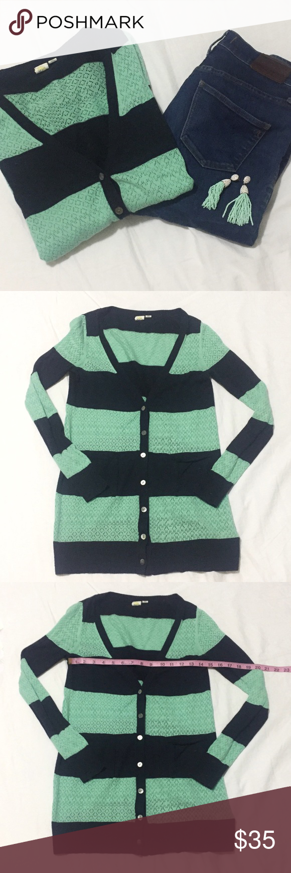 Anthropologie   Mint/Blue Striped Cardigan   XS Anthropologie Yellow Bird   Mint/Blue Striped Cardigan   Size: XS   Great Condition   No Wear or Damage   Pet/Smoke Free Home   True to Size   Cotton Blend   See Photos For Measurements Anthropologie Sweaters Cardigans