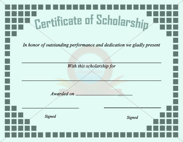Scholarship Certificate Template  Scholarship Certificate