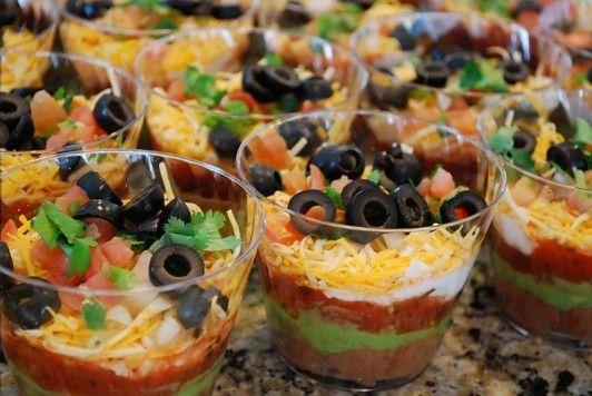 bridal shower appetizer ideas appetizers individual 7 layer dips guacamole bruschetta recipe