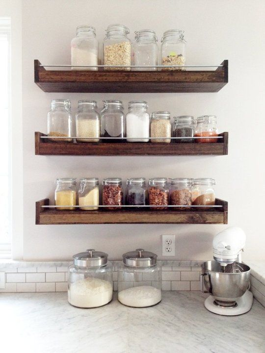 Industrial Floating Shelf Or Spice Rack From This Old Wood Shop Kitchen Storage Shelves Industrial Floating Shelves Floating Shelves