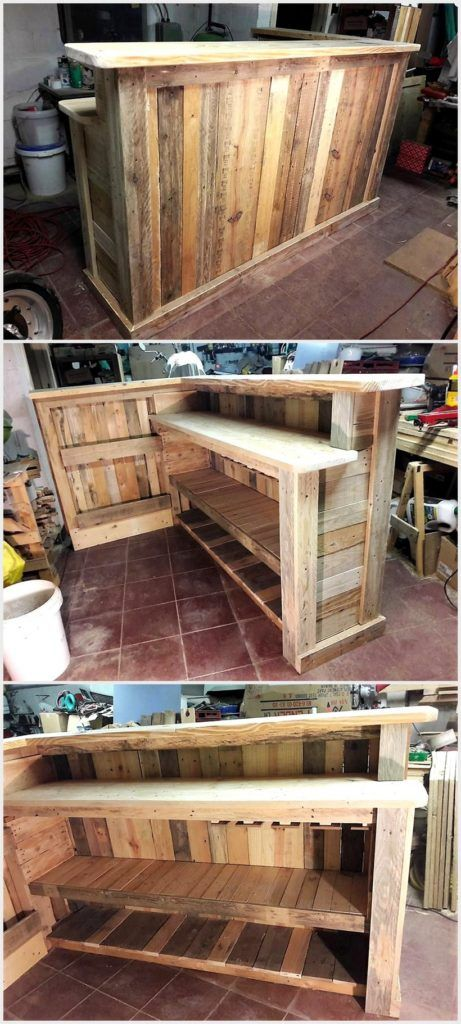 Cheap Home Furnishing With Wooden Pallets | Wooden bar, Pallets and Bar