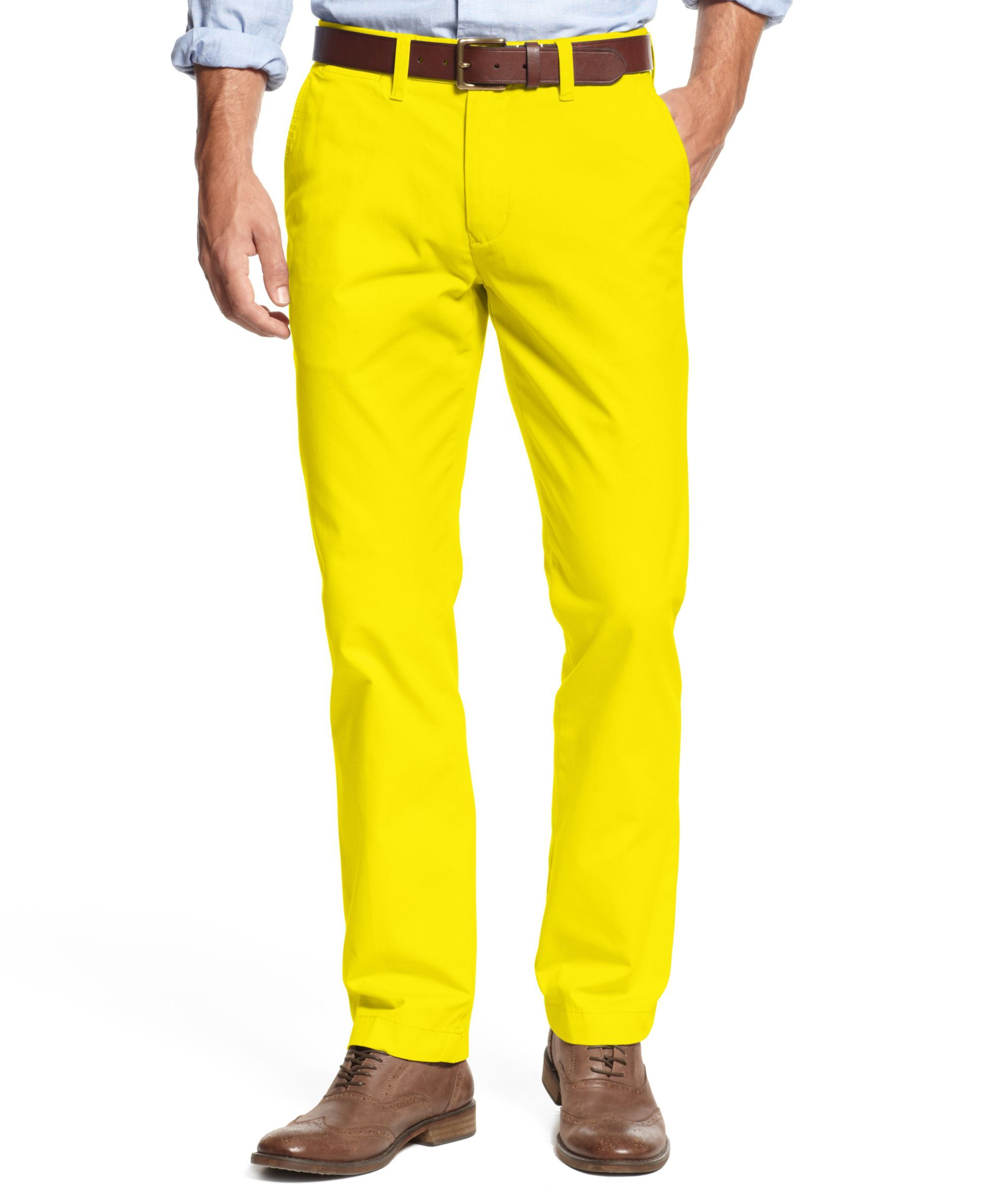 Tommy Hilfiger Mens Custom Fit Low Rise Flat Front Chino