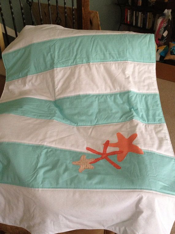 Aqua/White Striped Nursery Quilt with Coral Starfish by shilohmae, $90.00 would like different colors though