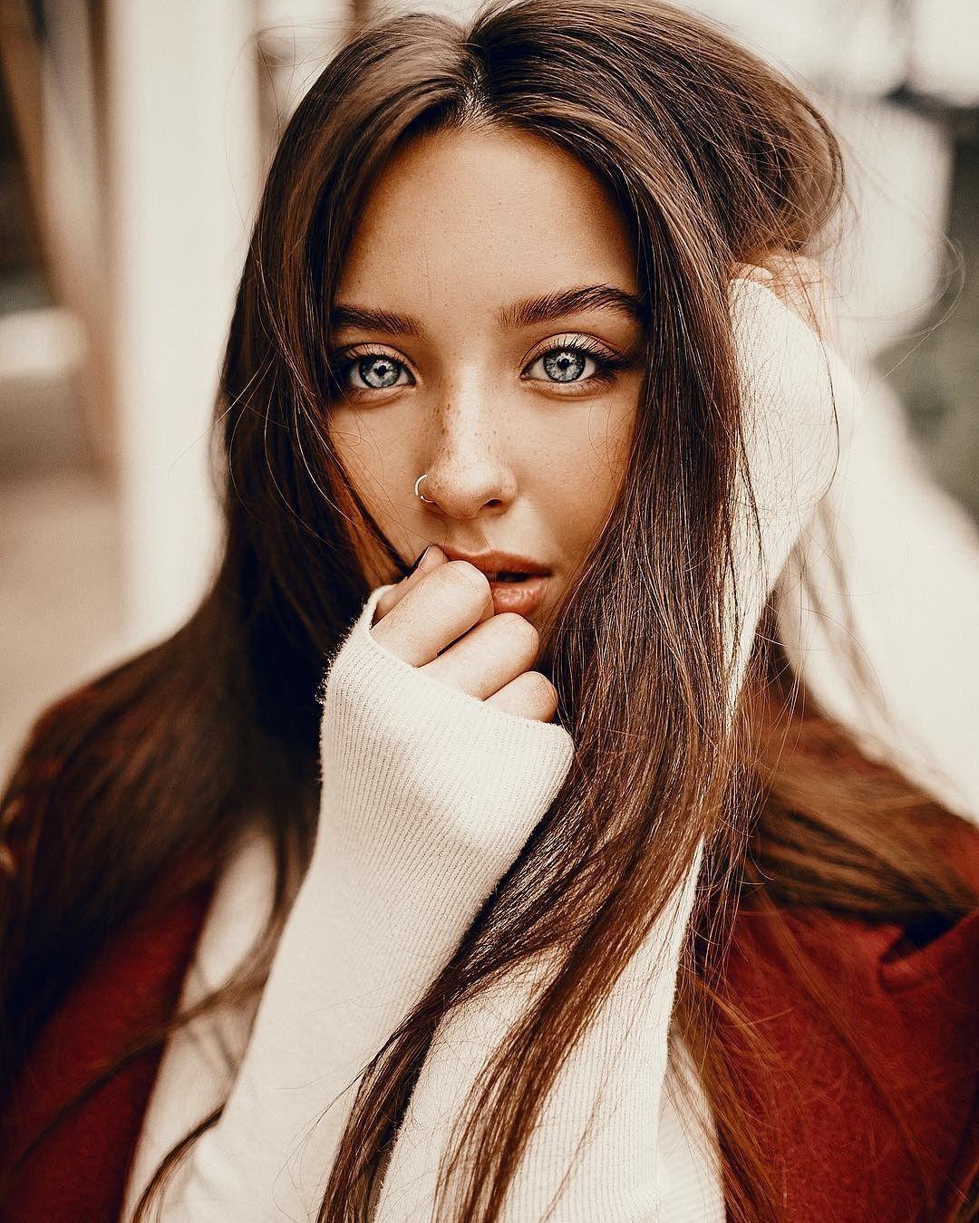 Katya Miro Brown Hair Blue Eyes Tan White Straight Hair Long