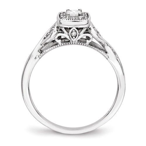 14k White Gold Princessa Diamond Halo Infinity Side Engagement Ring