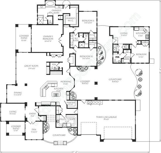 Love The In Law Suite Just Across The Patio Basement House Plans House Plans One Story Ranch House Plans