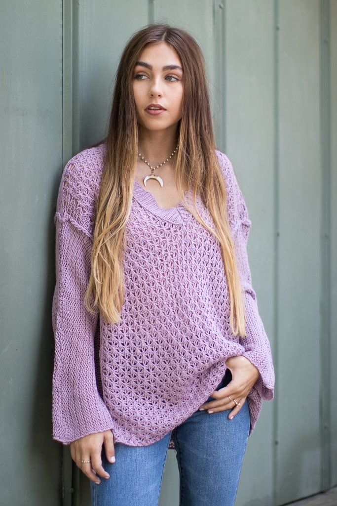 VNeck Open Knit Sweater Curve Sweaters, Tunic tops