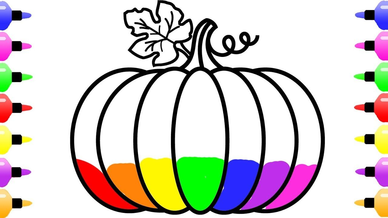 How to Draw Rainbow Pumpkin for Kids and Coloring Book for Girls ...