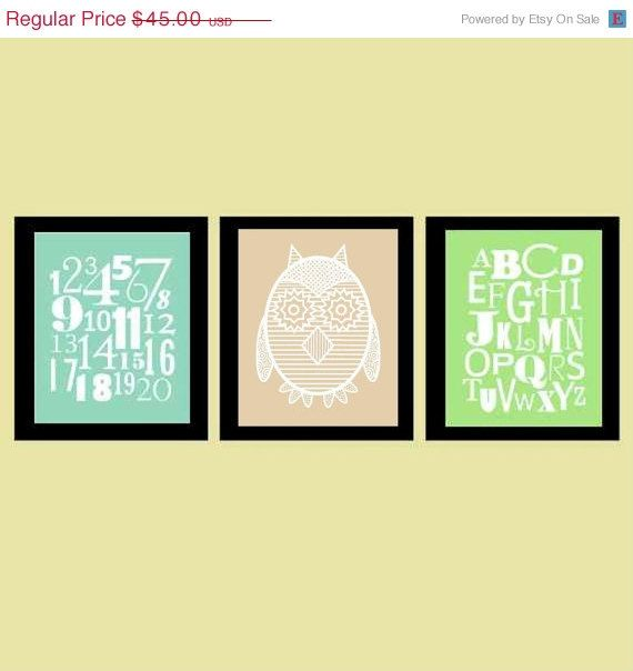 Sale 35% Off Owl Nursery Wall Art, Alphabet and Number art, ABC 123 ...