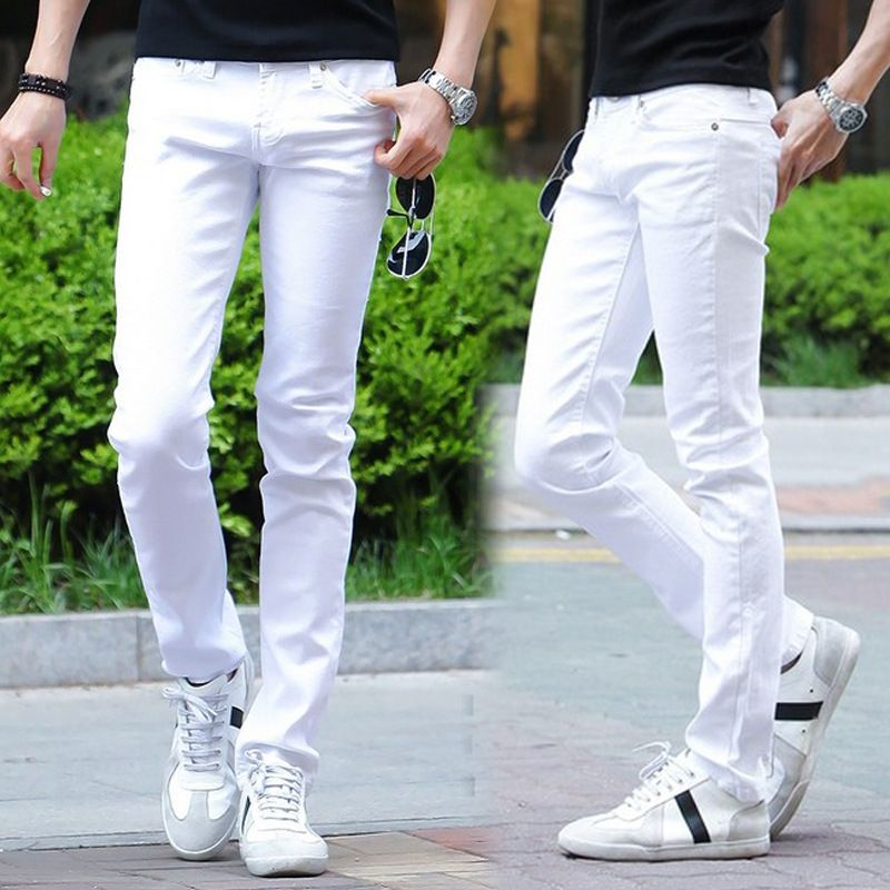 221f878f7bc The new spring and summer 2017 men s large size men s white jeans Korean  fashion casual men stretch skinny jeans 28-36