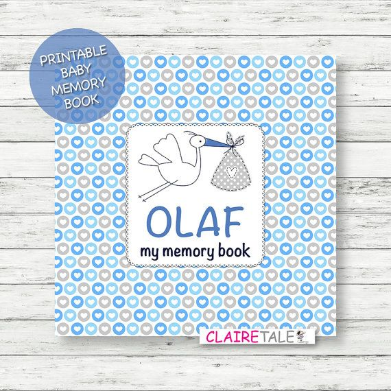 Check out DIGITAL printable personalised baby boy memory book / Baby album / First year book / Baby record book / Baby journal / Baby diary / hearts on clairetale