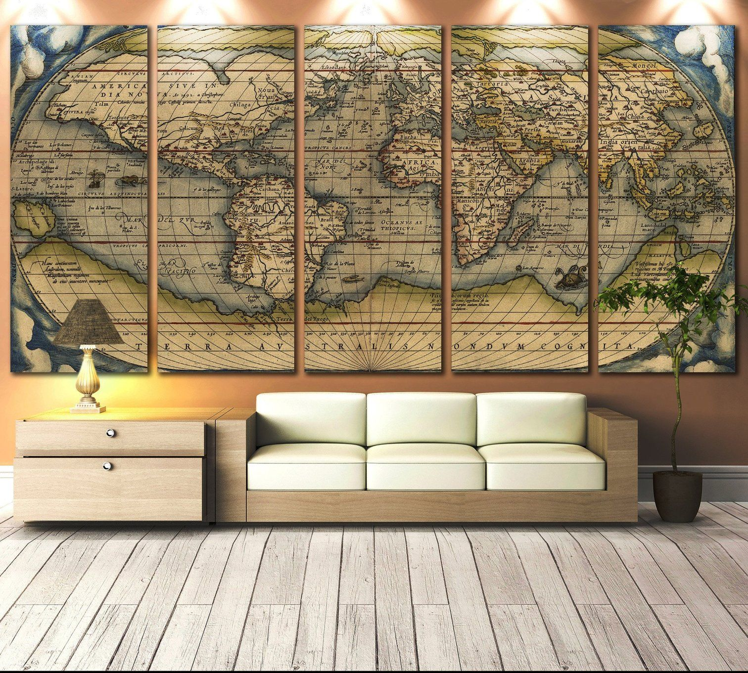 Vintage world map 710 ready to hang canvas print vintage world map 710 canvas print gumiabroncs Image collections