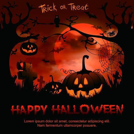 Allenjoy Halloween backdrop red moon party background horrible - halloween backdrop