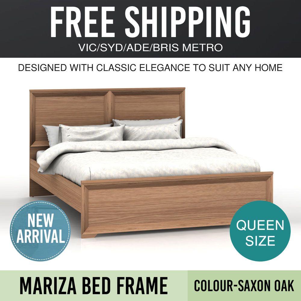Bed Frame Queen Natural Wood Particle & MDF Board Saxon Oak Modern ...